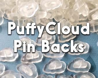 Puffy Cloud pinbacks, clear glitter clouds, kawaii cloud rubber pin caps, bulk order glitter cloud backers, clear rubber clouds with glitter