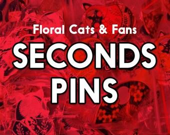 Sakura Cats & Sakura Fans Seconds, Seconds Grade Enamel Pins, Discount pins for slight defects, discounted floral pins, cheap pins