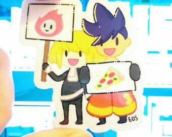 Kolio Kogalo protest sticker, chibi GaloLio sticker, clear Promare anime vinyl sticker, gay firefighter anime, promare gremlin stickers