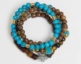 Tiger's Eye Bracelets, Turquoise Bracelets, Mala Beads, Healing Bracelets, Mala Set, Yoga Bracelets, Yoga Beads, Boho Jewelry