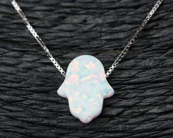 c40972cc6 White Opal Hamsa Hand Necklace with 925 Sterling Silver Chain - 18