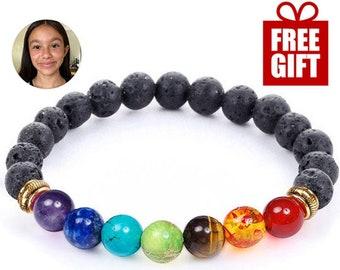 7 Chakra Healing Bracelet with Volcanic Lava, Mala Bracelet Meditation Bracelet - Protection, Energy, Healing- Multiple Sizes and Styles