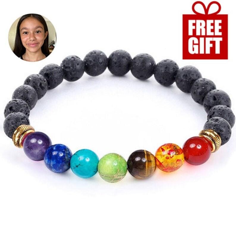 7 Chakra Healing Bracelet with Volcanic Lava Mala Bracelet 8 inches
