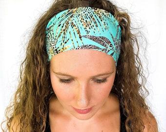 Yoga Headband- Leopard Print on Sea Green Wide Headband- Womens Headband -  Tropical Headband - Beach Headband f17a46d483d