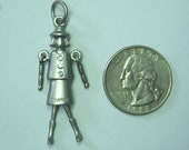 Authentic Vintage Chanel Charm FASHION DOLL Silvertone with Sparkly Crystal Buttons 1-1 2 quot tall