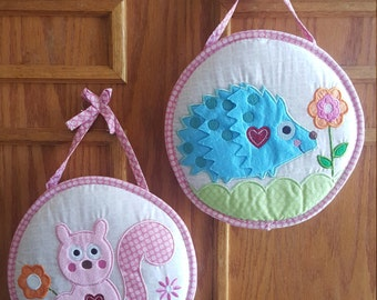Baby girl wall hanging hedgehog and squirrel