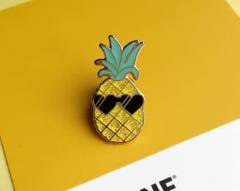 Pedro the Pineapple Lapel Pin | Cute enamel pin hat badge
