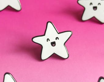 Happy Star Enamel Lapel Pin | cute enamel pin hat badge