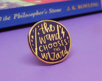 The Wand Chooses the Wizard - enamel lapel pin | cute enamel pin hat badge wizard magic