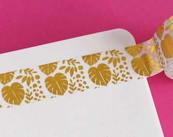Monstera Gold Foil Washi Tape