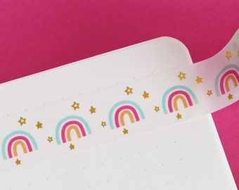 Rainbows and Stars Gold Foil Washi Tape