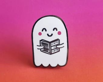 Reading Ghost Enamel Lapel Pin | Cute kawaii pin hat badge