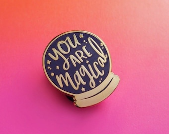 You are Magical - crystal ball enamel lapel pin | cute enamel pin hat badge wizard magic
