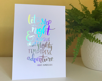 A5 'Let Us Step Into The Night' Foil Print | Witch Wizard Magic Quote