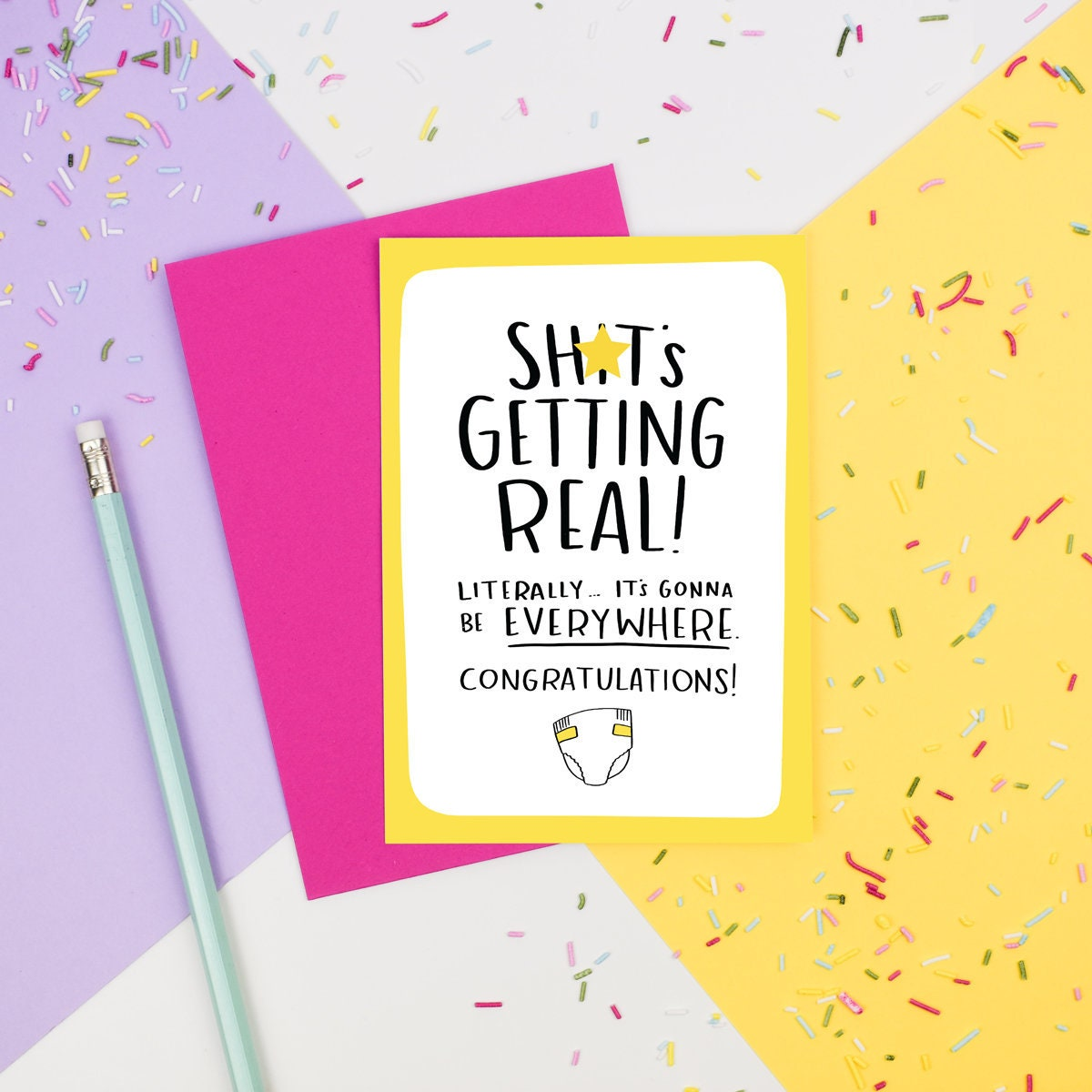 Shts Getting Real Card Funny New Baby Birth A6 Blank Etsy