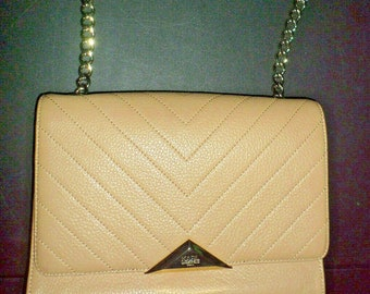 af9f9056ec07 Authentic KARL LAGERFELD Chanel Designer Paris Tan Quilted Pebbled Leather  Gold Tone Chain Women's Shoulder Bag Purse Retro French Couture