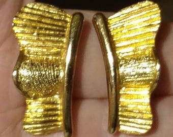 326552d90 Vintage 80's PAOLO GUCCI Signed Ribbed Gold Plated Designer Clip Earrings  Women's High End Costume Jewelry Estate