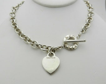 c1c63ac7d Vintage Tiffany & Co. Sterling Silver 925 Heavy 73 Grams Heart Tag Toggle  Clasp Chain Link Necklace 16