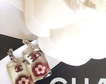 5b601663a426f SALE- Authentic CHANEL CC Logo Vintage 70 s Clear Lucite Dangle Drop Flower  Earrings Paris France High Fashion French Couture Women s Jewelr