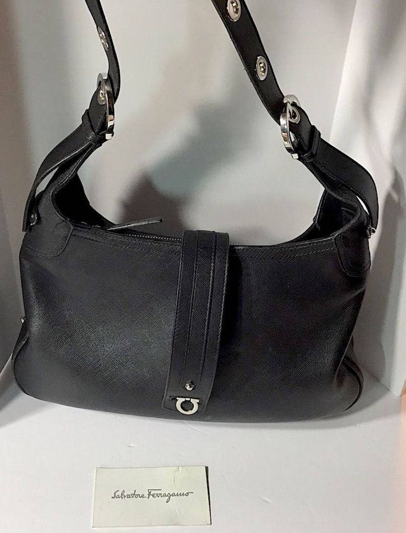 65d3fed93e SALVATORE FERRAGAMO Black Saffiano Leather Handbag Purse