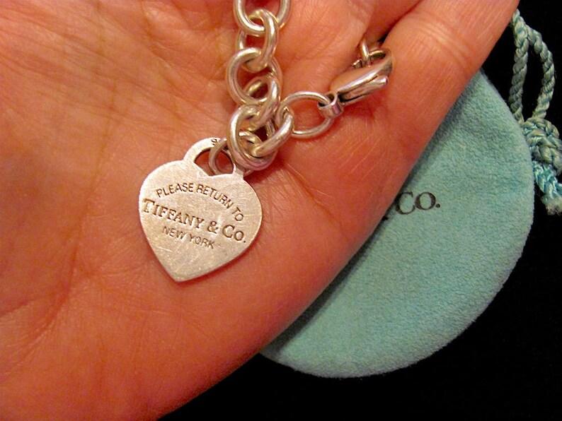 0965ed80b Authentic TIFFANY & CO Heavy 35 Grams Sterling Silver 925 Heart Charm Link  Bracelet 8.0