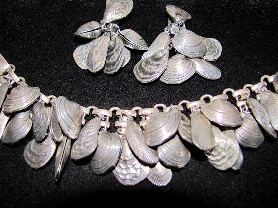 Ca Rare Sea Shell Charm Bracelet and Earrings Napier Shell Bracelet 1950s.