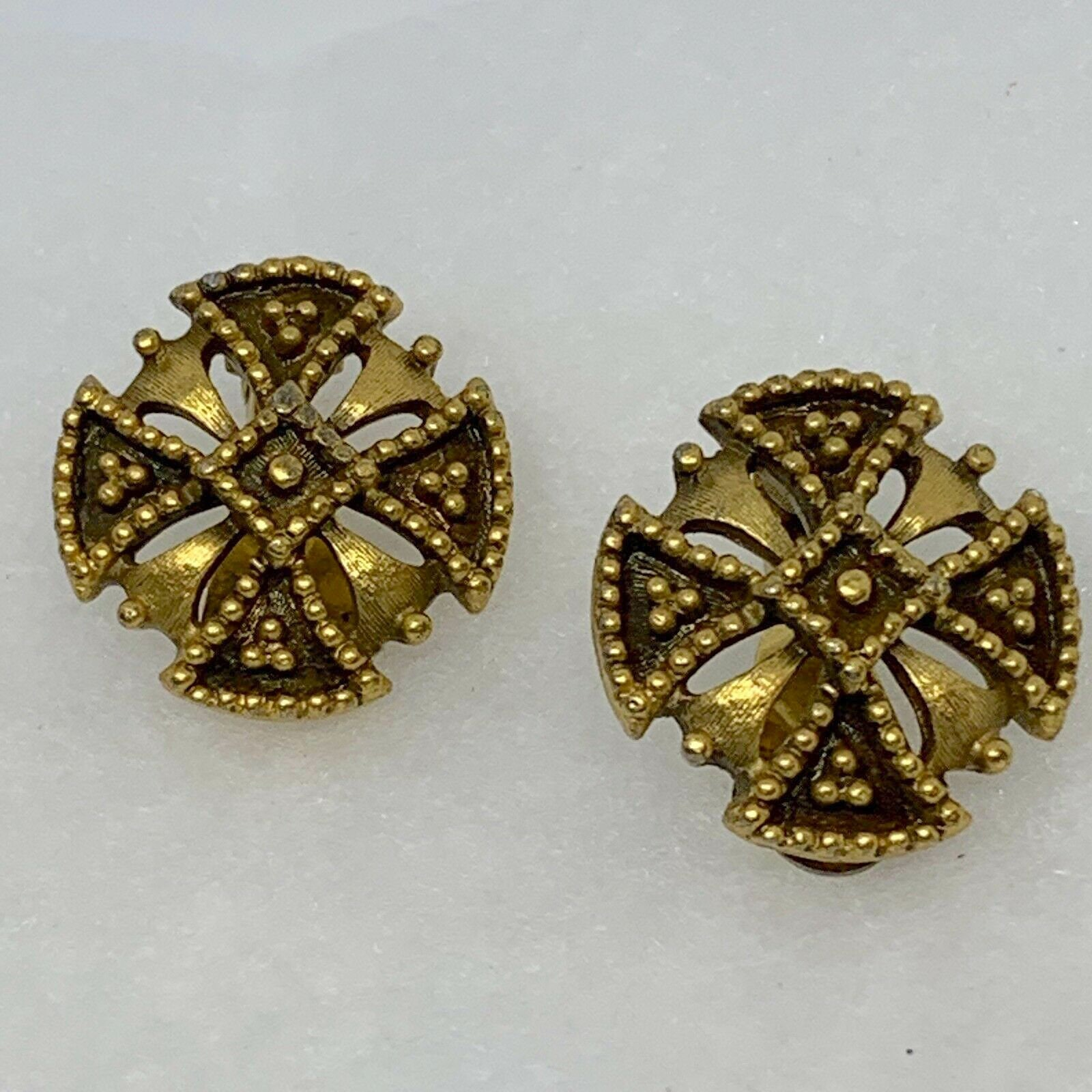 014f7ef507 Vintage Retro YSL Yves Saint Laurent Signed 80's Glam Antique Gold Tone 14K  Plated Maltese Cross Edwardian Clip Earrings Women's Jewelry NOS