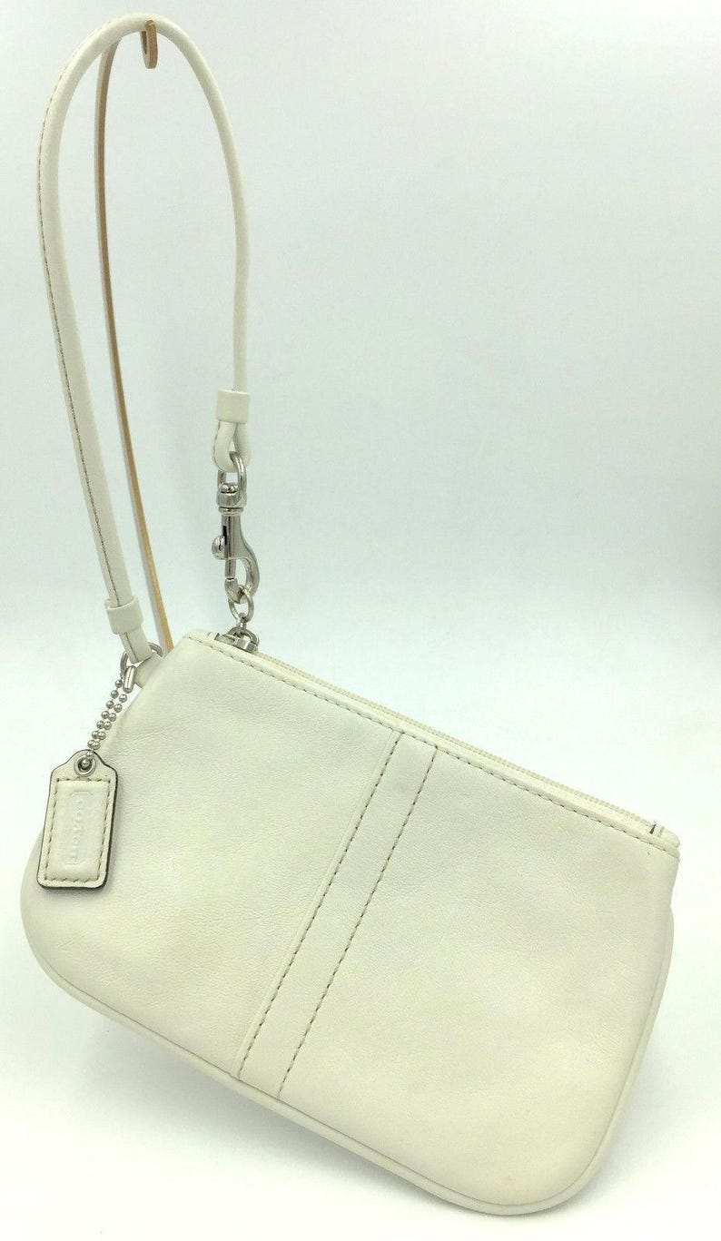 7ef61484b1 ... norway retro authentic coach off white leather wristlet strap key fob  etsy a0752 90a03