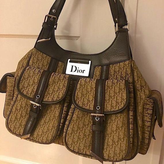 """Vintage CHRISTIAN DIOR """"Gently Used"""" Lg. Oblique Brown Trotter Pattern & Leather Saddle Purse Handbag Shoulder Bag Womens French Designer"""