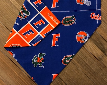 University of Florida Gators Reversible Bandana, UF Dog/Cat Slide-On Bandana, Gators Dog/Cat Reversible Bandana