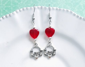 c94b8936d Claddagh Earrings,Irish Earrings,fáinne Chladaigh, girlfriend gift,small  gift,Irish jewelry,Claddagh jewelry,Ireland,hand holding heart