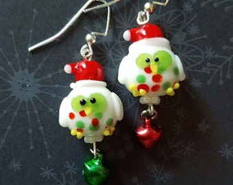 e8434a005 Crazy Christmas Owl Jingle Bell Earrings - Add some fun to your Christmas  Jewelry