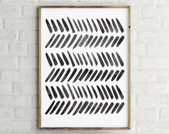 Scandinavian Art Print / Tribal Art Print / Instant  Download Print / Printable Art / Black and White Art Print