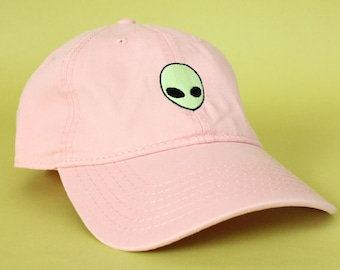 NEW Glow In The Dark Alien Head Baseball Hat Dad Hat Low Profile White Pink  Black Casquette Embroidered Unisex Adjustable Strap Baseball Cap 37781e9a224a