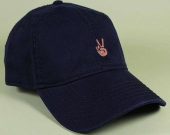 Peace Emoji Baseball Hat Dad Hat Low Profile White Pink Black Casquette  Embroidered Unisex Adjustable Strap Back Baseball Cap 280e23440d04