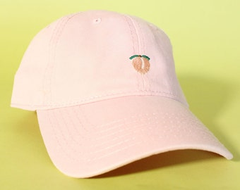 32debbfd299 NEW Peach Baseball Hat Dad Hat Low Profile White Pink Black Casquette  Embroidered Unisex Adjustable Strap Back Baseball Cap