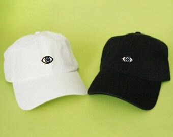 d71f006aa1e96 New Third Eye Baseball Hat Dad Hat Eye of God and White Pink Black Khaki  Green Embroidered Dad Cap Adjustable Back Baseball Cap Hamsa
