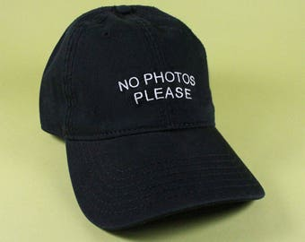NEW No Photos Please Baseball Hat Dad Hat Low Profile White Pink Black  Khaki Green Embroidered Unisex Adjustable Strap Back Baseball Cap bb2adab28698