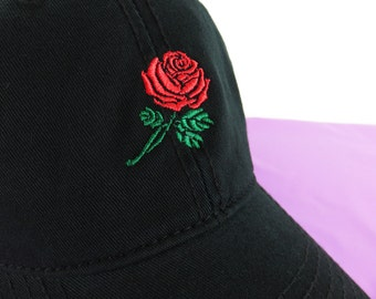 f70fccd6c7f NEW Rose Baseball Hat Dad Hat Low Profile Black Casquette Embroidered  Unisex Adjustable Strap Back Baseball Cap