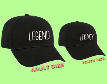 Father and Son Matching Hats Legend and Legacy Hats Gifts for Dad Mom and dad  hat Gift for mom Kids dad hat Grandpa hat Youth hat Grandson 11d535db435f