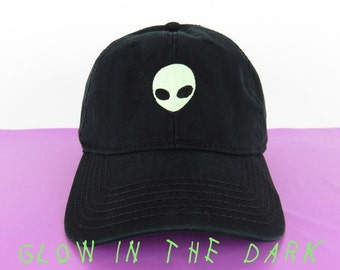 NEW Glow In The Dark Alien Head Baseball Hat Dad Hat Low Profile White Pink  Black Casquette Embroidered Unisex Strap Back Baseball Cap 386edac9f93e