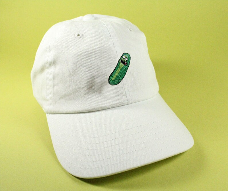 Old Man Pickle Baseball Hat Dad Hat Low Profile White Pink  0159ed98b915