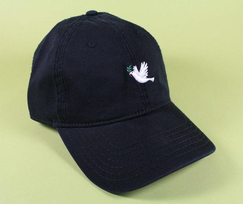 8594f6109ec DOVE Emoji Baseball Hat Dad Hat Low Profile White Pink Black
