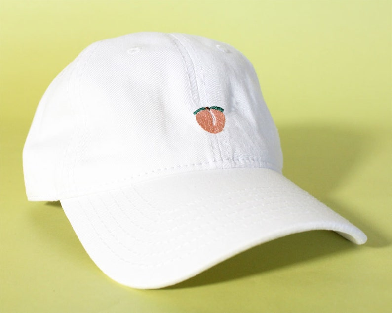 NEW Peach Baseball Hat Dad Hat Low Profile White Pink Black  97808eaac529