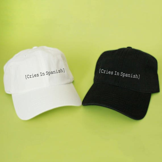New Cries In Spanish Baseball Hat Dad Hat Low Profile White  5fdf5d9dc071