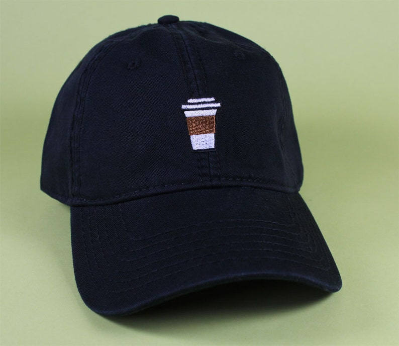 1e6b38811b4f74 Coffee Cup Baseball Hat Dad Hat Low Profile White Pink Black