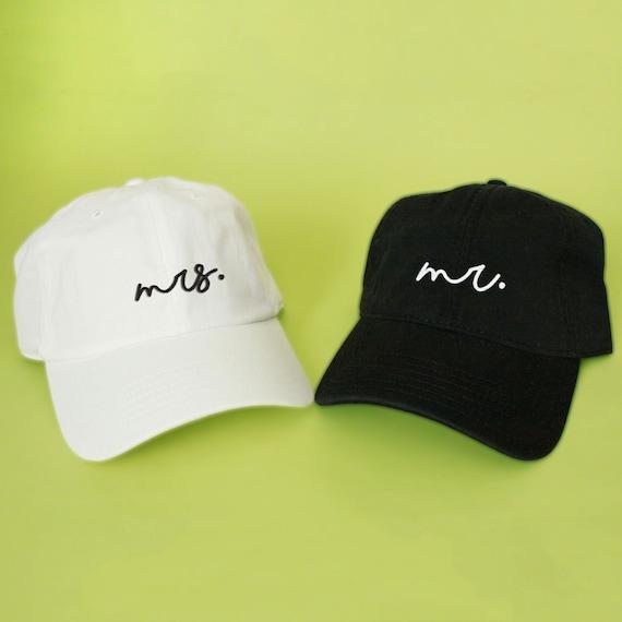 cc2b3866040 Mrs and mr wedding Baseball Hat Dad Hat White Pink Black