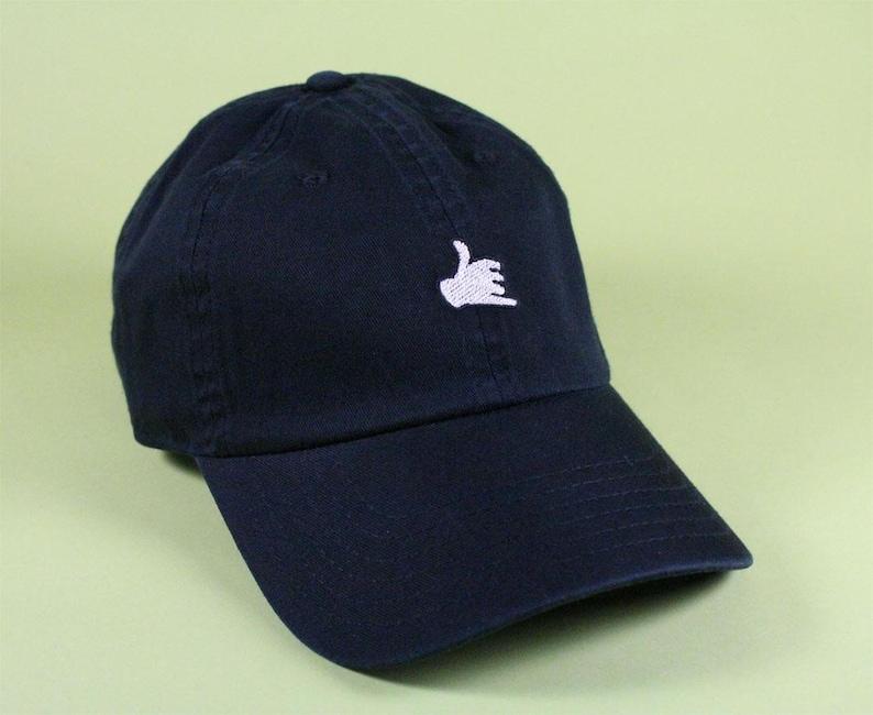 d7927942c706c Call Me Hand Emoji Baseball Hat Dad Hat Low Profile Hang Loose