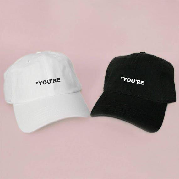 438cf581356 New YOU RE Baseball Hat Dad Hat Low Profile White Pink