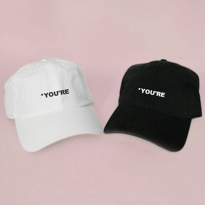 1a200c2d409829 New YOU'RE Baseball Hat Dad Hat Low Profile White Pink   Etsy